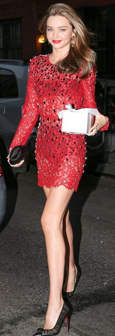 Miranda Kerr: Shoes – Christian Louboutin  Dress – Dolce & Gabbana