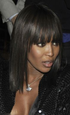 20 Great Hairstyles With Bangs: Naomi Campbell's Blunt Bangs