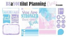 Gotta another printable here for you! I am loving the watercolors and the quotes! I really hope you like it. Please leave me a comment, I would love to know what you think abo… Free Planner, Happy Planner, Printable Planner, Planner Stickers, Free Printables, Planner Organization, Organizing, Fitness Planner, How To Know