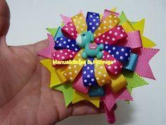 idea de moños navideños con cinta para el cabello. Christmas bows and hair flowers - YouTube