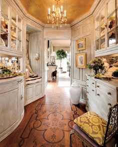 Can you believe this is a Butler's Pantry?  Decorative artist Carrol Dilustro's work in this too perfect butler's pantry