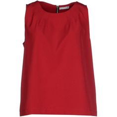 Hope Collection Top ($115) ❤ liked on Polyvore featuring tops, garnet, zipper top, red top, red sleeveless top, zip top and sleeveless tops