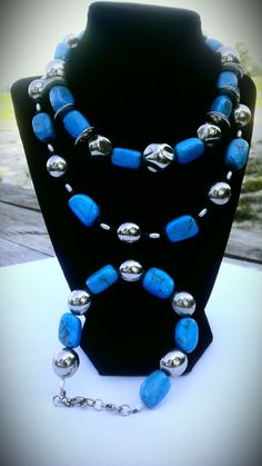 Turquoise Necklace Choker and Bracelet set by ShiningStarStudio, $65.00