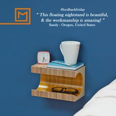 Small Floating shelf/ beside table/ small nightstand/ birch plywood/ coloured nightstand Small Nightstand, Floating Nightstand, Floating Shelves, Plasterboard, High Quality Furniture, Easy Install, Plywood, Birch, Modern Design