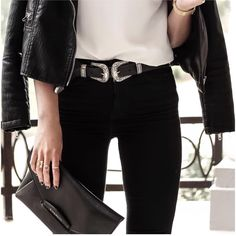Double buckle belt outfit