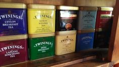 My twinings tea tin collection. Collected from different countries.