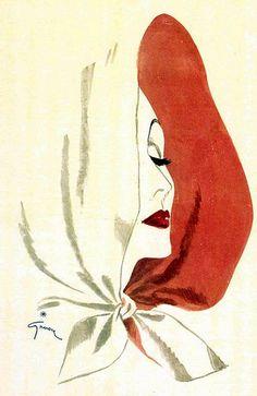 Illustration by René Gruau, 1945, Elizabeth Arden