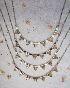 Boho gemstone geometric triangle necklace for natural, gypsy look. Turquoise, black white or pink stone with high quality antique brass findings. A perfect gift idea for a girlfriend, sister or a friend. Support handmade artists on Etsy!