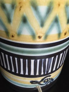 Rare, Tall, Hand-Colored Graphic Lotte and Gunnar Bostlund Mid-century Danish Modern Ceramic Lamp Base