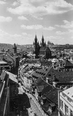 Prague of yesteryear. Courtesy of Vilém Heckel Archive Prague Czech Republic, Old World, Perfect Place, Paris Skyline, Archive, Shots, Retro, City, Places