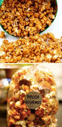 Pipoca caramelizada na panela - veja a receita completa, igual de pipoqueiro! Chocolate, Popcorn, Cereal, Brunch, Sweets, Candy, Breakfast, Desserts, Recipes