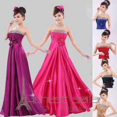 PROM Strapless Floor Length Evening Womens Lace Up Bandage A-line Sexy Empire Waist 6 Colors Long Dress US Size $65.96