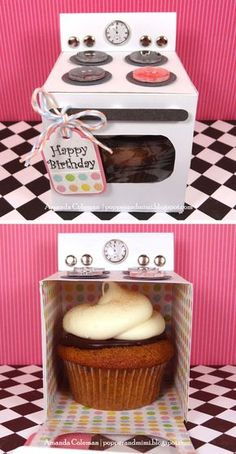 Cupcake Oven: Such unique packaging! Create these cute oven boxes, and stuff cupcakes in them. Source: Popper and Mimi AWWWW Cupcake Oven: Such unique packaging! Create these cute oven boxes, and stuff cupcakes in them. Source: Popper and Mimi AWWWW! Cupcake Gift, Cupcake Boxes, Cupcake Holders, Cupcake Ideas, Paper Cupcake, Cool Diy, Epiphany Crafts, Diy Stockings, Ideias Diy
