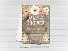 Rustic Bridal Shower Invitation Floral Bridal by Oohlalovely