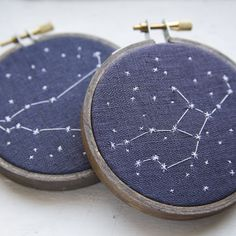 Two Embroidered Zodiac Constellations (via MiniatureRhino, Etsy). I think only the kits to make these are sold now, so I should learn to embroider...