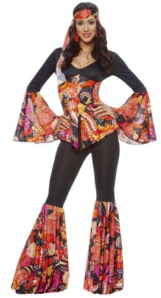 Groovy Hippie Costume - Disco and Hippie Costumes sexy Disco Costume Diy, 60s Halloween Costumes, Scary Halloween, Diy Hippie Costume, Halloween Ideas, 1960s Costumes, 50s Costume, Vampire Costumes, 70s Outfits