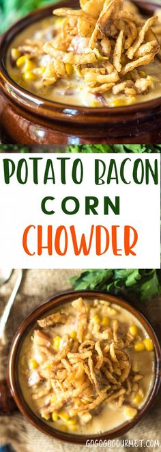 This Potato Corn Chowder with Bacon is the perfect soup to ease from summer into fall. Use summer's sweet corn to make this hearty soup! via @gogogogourmet