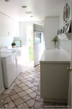 Laundry Room Makeover, Sherwin Williams Sea Salt, Ikea Fintorp, Homegoods Accessories