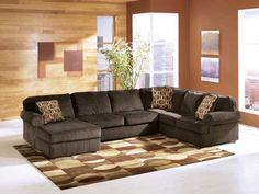 "Ashley ""Vista-Chocolate"" 3-Piece Sectional for our new living room."