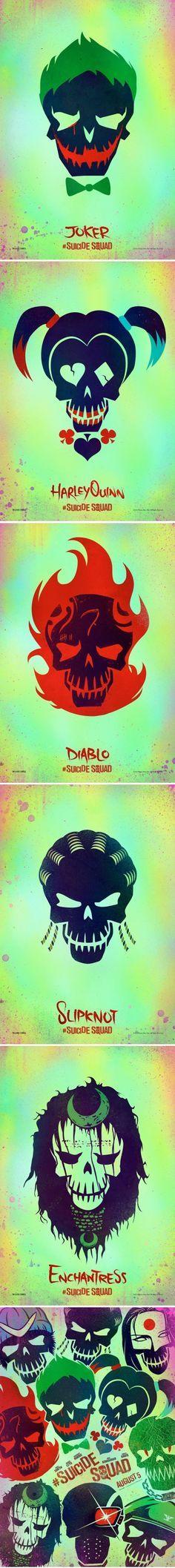 Suicide Squad Character Posters - Joker, Harley Quinn, Diablo, Slipknot & Enchantress