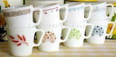 Pyrex 1410 mugs: Woodland Brown, Autumn Harvest, Burgundy, Ginger, Snowflake Blue, Honeydew, Ribbon Bouquet, Blueberry