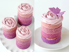 pink ombre rosette wedding cakes | Layer cakes as desired, piping a swirl of frosting between each ...