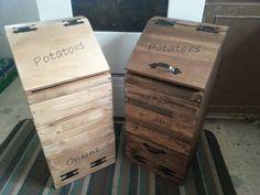 wooden potato & onion bin / vegetable storage / potato bin / onion bin / vegetable box wooden potato and onion bin Potatoe And Onion Storage, Potato And Onion Bin, Potato Box, Wooden Storage Bins, Kitchen Storage Boxes, Wooden Boxes, Box Storage, Smart Storage, Vegetable Boxes