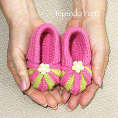 Crochet: zapatitos acordeón con punta en dos colores! Video tutorial del paso a paso :)