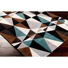 Hand Tufted Kaleidoscope Teal Contemporary Geometric Rug (5u0027 X 8u0027) By Surya