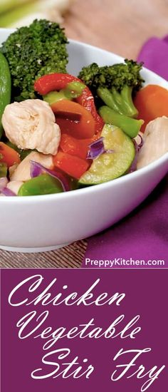 Quick Stir Fry Recipe For Family Dinner Night. Made With Broccoli And Other Fresh Veggies Chicken Vegetable Stir Fry, Healthy Chicken Stir Fry, Chicken And Vegetables, Easy Chicken Recipes, Vegetable Recipes, Vegetarian Recipes, Healthy Recipes, Delicious Recipes, Vegetarian Dinners