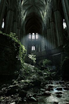 A famous spot in France, St Etienne abandoned church. I love abandoned buildings that nature has taken over. Abandoned Buildings, Abandoned Castles, Abandoned Mansions, Old Buildings, Abandoned Places In London, Abandoned Malls, Abandoned Warehouse, Abandoned Train, Caen France