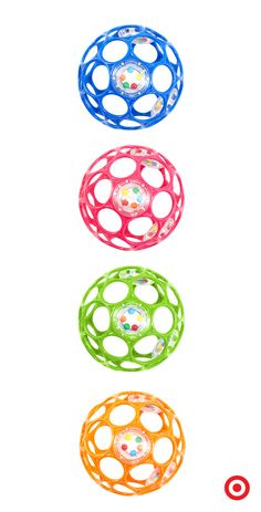 "The award-winning Oball rattle is easy for Baby to grasp, toss, shake and roll. Inside in each flexible, 4"" ball are 3 separate rattles, inviting your little one to explore sound and percussion. The rattle comes in 4 bright colors for fun at home and on the run."
