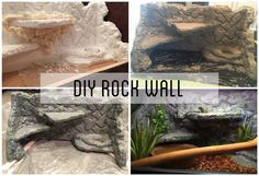 DIY rock wall for lizard tank using styrofoam, construction glue, great stuff gap filler, grout, paint and a poly finish to seal.