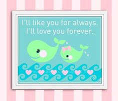 Baby girl nursery decor mother daughter whale by MagicMarkingsArt