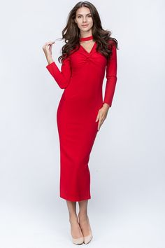 cacd5ea4e53a59 Hug My Body red choker evening womens Dress Make an elegant entrance--and  exit--in this Own The Looks dress featuring flattering sleeves and chest  cutout