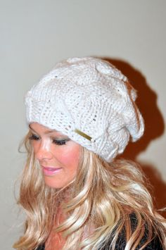 Slouchy Hat Slouch Beanie Cable Hat Hand Knit Winter Women Hat CHOOSE COLOR…