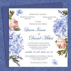Invitatii nunta cu lavanda, hortensii si bujori Paper Flower Wall, Paper Flowers, Nasa, Invitation Cards, Frame, Wedding, Gardens, Invitations, Messages