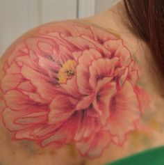 Peony tattoo on the front of my shoulder. Realism and watercolor! Done by Kegan at The Inkery in Austin, TX Flower Tattoos, Tattoo Floral, Peonies Tattoo, Pretty Tattoos, Shoulder Tattoo, Half Sleeves, Peony, I Tattoo, Watercolor Tattoo