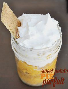 Turn a traditional sweet potato pie into a delicious dessert in a jar with this sweet potato pie parfait! #ThankfullySweet #ad