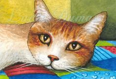 Art Print 5x7 from ACEO painting Cat 251 by L.Dumas