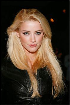 Amber Heard blonde hair color idea. Light golden blonde