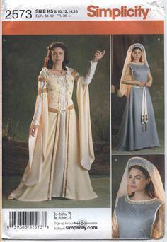 SIMPLICITY Sew Pattern 2573 Misses Renaissance Costume Head Piece Sz 8-16 Uncut #Simplicity2573 #renaissance #costumepattern