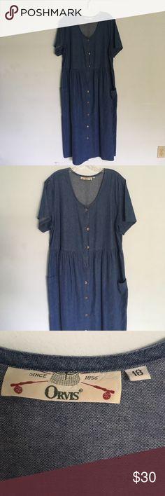 Orvis Denim Button Up Dress Size 18 Orvis Denim Button Up Dress Size 18 Calf Length Excellent condition Orvis Dresses Midi