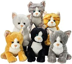 Lelly Assortiment de chats assis en peluche 25cm