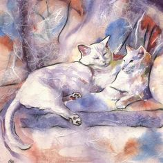 an Original Watercolor and Mulberry Paper Painting and Collage by AlisaPaints - Alisa Wilcher - White Kitty Cats Cuddle  Animal Portrait