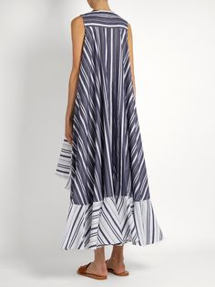 Waterfall-hem striped cotton-poplin dress | Palmer//harding | MATCHESFASHION.COM