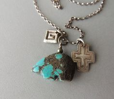 Charm Necklace, Silver Necklace, Turquoise Heishi Bear, Southwest, Turquoise Necklace, Handmade Jewelry, Artisan Jewelry, Rustic by DianesAddiction on Etsy