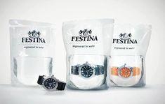 Festina. Su departamento de marketing se preguntó: ¿Cómo podemos demostrar que el principal plus del reloj es su resistencia al agua, y que el consumidor se lo crea? Comenzaron a venderlo en una bolsa de agua. Brillante.