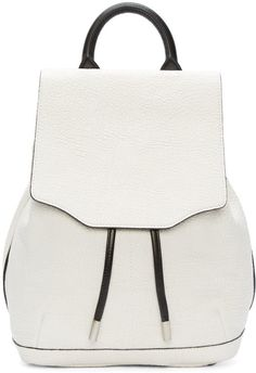 Structured grained leather backpack in white. Rolled carry handle at top. Adjustable leather shoulder straps in black. Foldover flap with magnetic closure at top concealing black leather drawstring fastening at bag throat. Zip pocket at side. Bumper studs at base. Zippered pocket at fully lined interior. Silver-tone hardware. Tonal stitching. Approx. 12