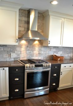 Kitchen makeover Brick Backsplash, Stainless hood, cream cupboards How Contemporary Office Furniture Fixer Upper Kitchen, Kitchen Brick, Cream Cupboards, Contemporary Office Desk, Cabinet Colors, Innovation Design, Office Furniture, Backsplash, Home Office